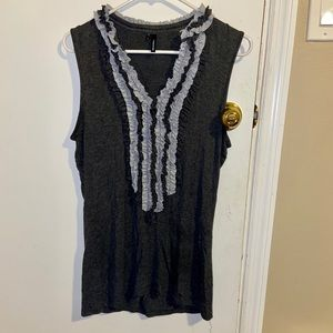 Maurices Large Multi-Gray Ruffle Tank Top